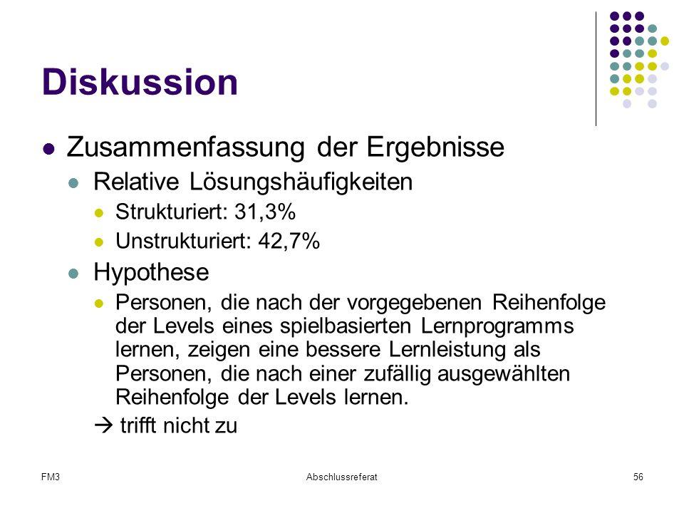 FM3Abschlussreferat56 Diskussion Zusammenfassung der Ergebnisse Relative Lösungshäufigkeiten Strukturiert: 31,3% Unstrukturiert: 42,7% Hypothese Perso