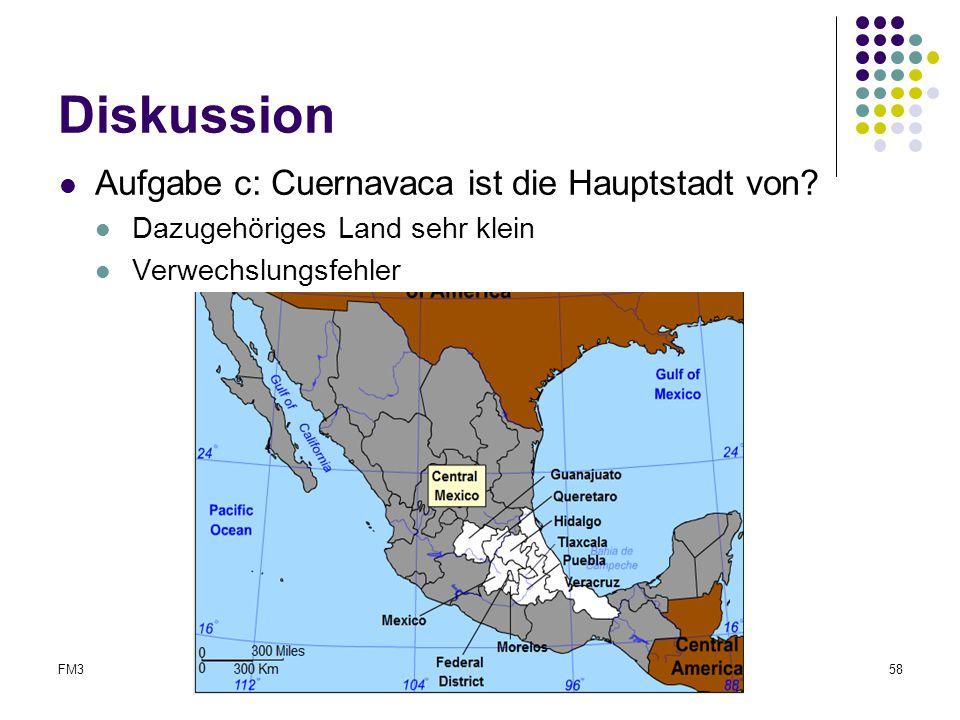 FM3Abschlussreferat58 Diskussion Aufgabe c: Cuernavaca ist die Hauptstadt von? Dazugehöriges Land sehr klein Verwechslungsfehler