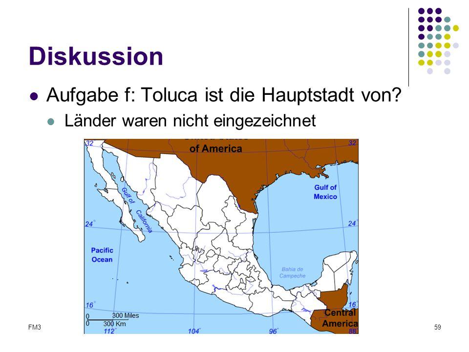 FM3Abschlussreferat59 Diskussion Aufgabe f: Toluca ist die Hauptstadt von? Länder waren nicht eingezeichnet