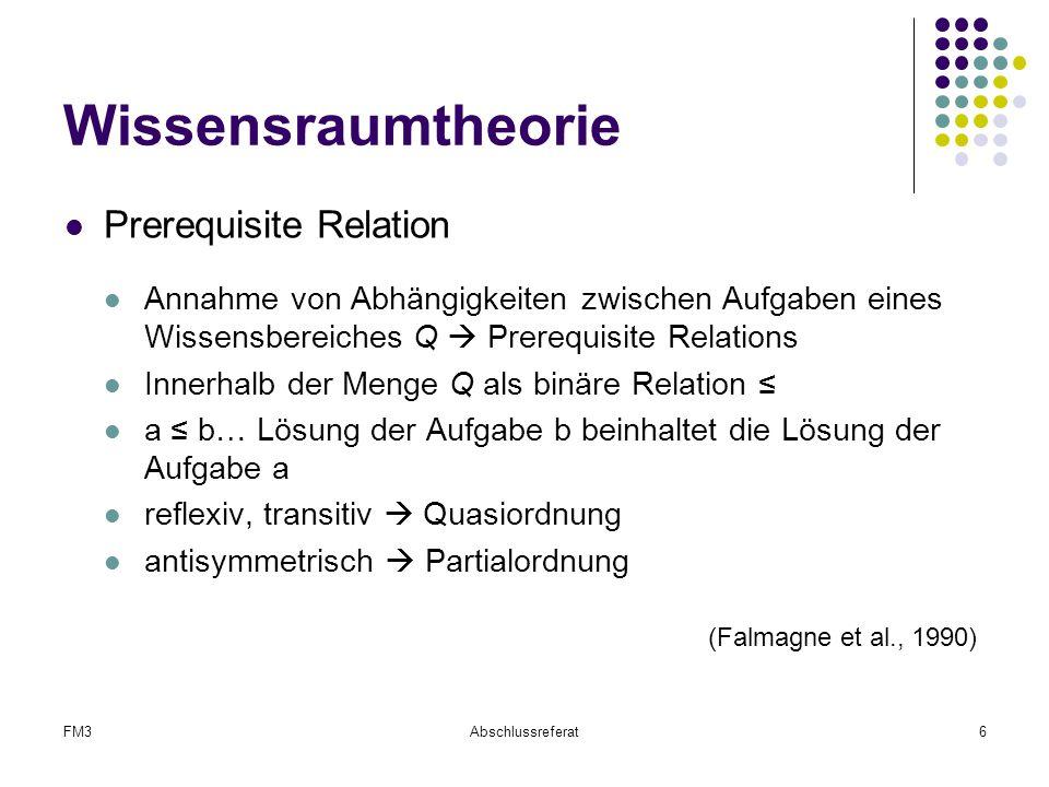 FM3Abschlussreferat6 Wissensraumtheorie Prerequisite Relation Annahme von Abhängigkeiten zwischen Aufgaben eines Wissensbereiches Q  Prerequisite Rel