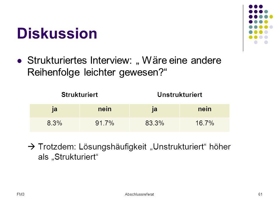 """FM3Abschlussreferat61 Diskussion Strukturiertes Interview: """" Wäre eine andere Reihenfolge leichter gewesen?""""  Trotzdem: Lösungshäufigkeit """"Unstruktur"""