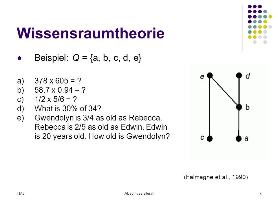 FM3Abschlussreferat7 Wissensraumtheorie Beispiel: Q = {a, b, c, d, e} a)378 x 605 = ? b)58.7 x 0.94 = ? c)1/2 x 5/6 = ? d)What is 30% of 34? e)Gwendol