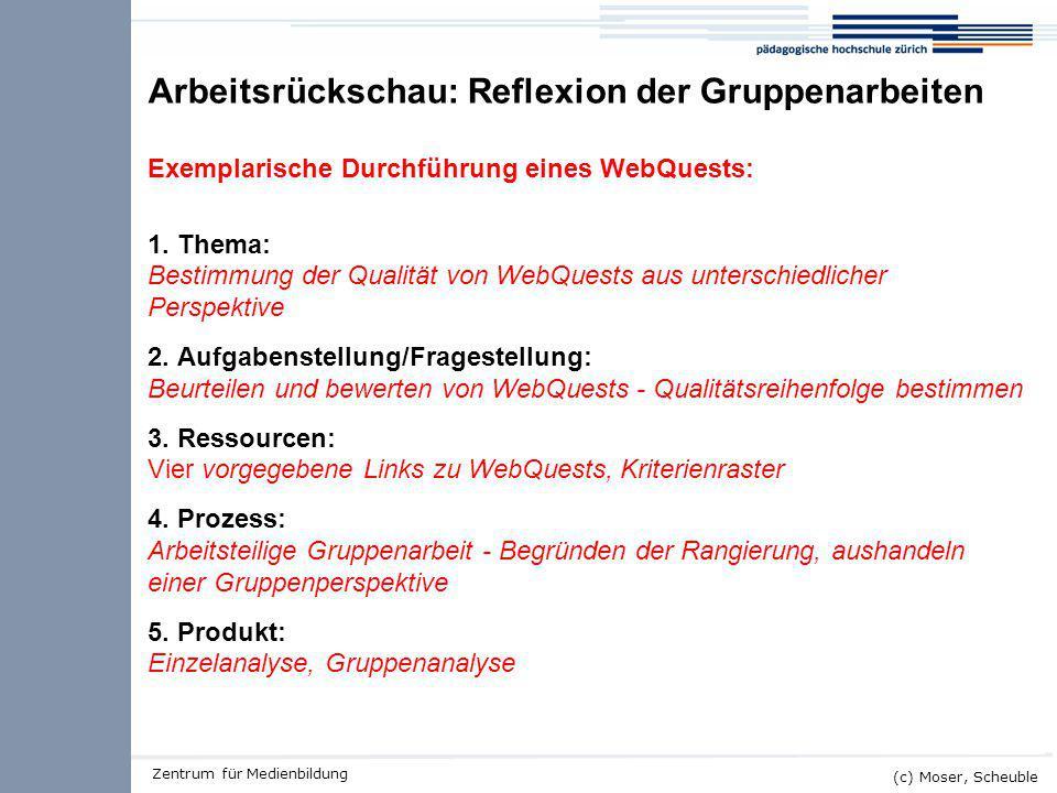 Kick-off ALMO (c) Moser, Scheuble Zentrum für Medienbildung Arbeitsrückschau: Reflexion der Gruppenarbeiten Exemplarische Durchführung eines WebQuests