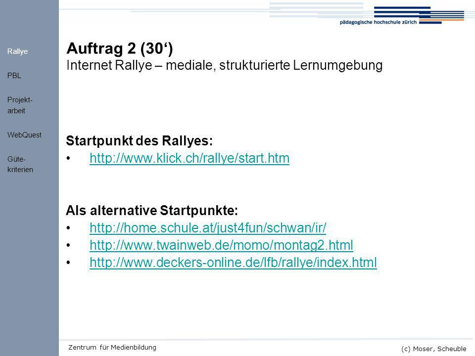 """Kick-off ALMO (c) Moser, Scheuble Zentrum für Medienbildung Didaktisches Modell """"Internet Rallye (Norbert Neuss, PH Heidelberghttp://www.lehrer-online.de/dyn/9.asp?url=269523.htm)http://www.lehrer-online.de/dyn/9.asp?url=269523.htm Strukturierung/Zeitplanung durch didaktischen Rahmen möglich und variabel: Anzahl Aufgaben, Schwierigkeits-, Unterstützungsgrad Didaktisierung durch Prinzip der minimalen Hilfe: Förderung eigenständigen, entdeckenden Arbeitens, Eignung für offene Formen des Unterrichts (z.B."""