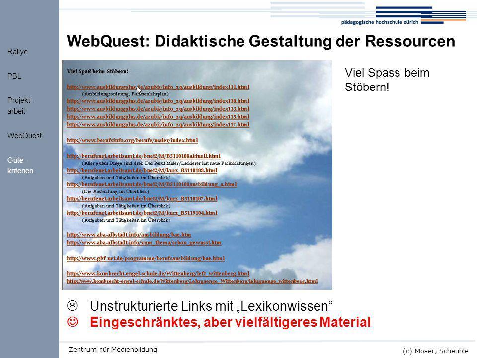 Kick-off ALMO (c) Moser, Scheuble Zentrum für Medienbildung WQ Ressourcen WebQuest: Didaktische Gestaltung der Ressourcen  Unstrukturierte Links mit