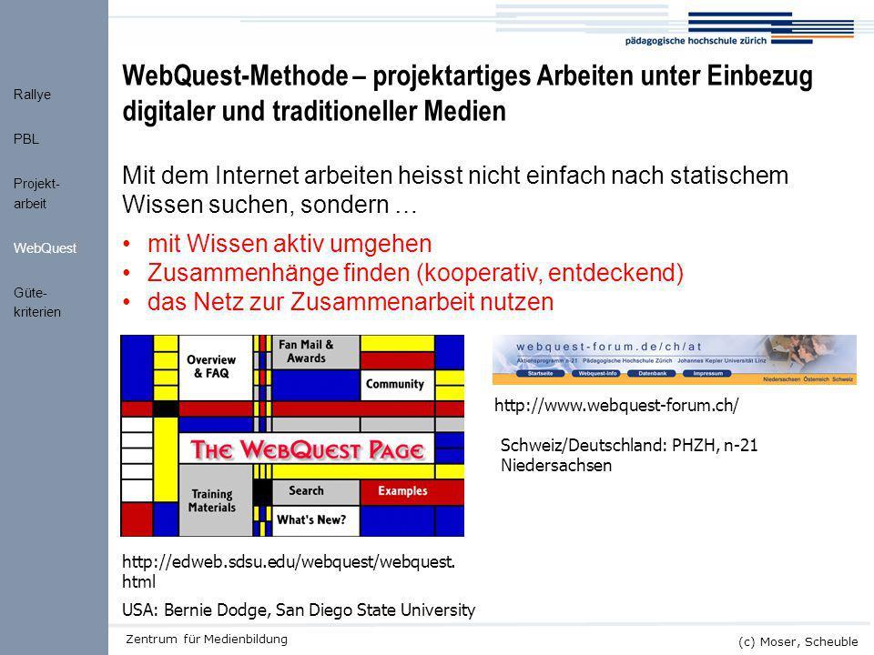 """Kick-off ALMO (c) Moser, Scheuble Zentrum für Medienbildung WebQuest """"Ein WebQuest ist eine entdeckungs- orientierte Aktivität, bei welcher alle Informationen, mit denen die Lernenden interagieren, von Äusserungen auf dem Internet her kommen, optional unterstützt durch Videokonferenzen ."""