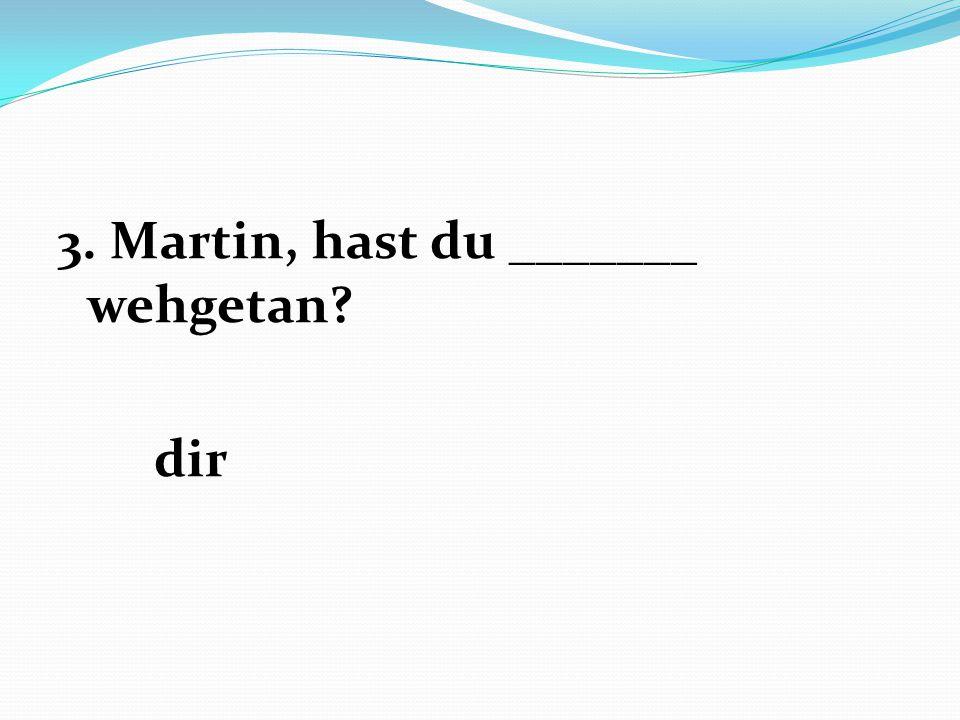 3. Martin, hast du _______ wehgetan? dir