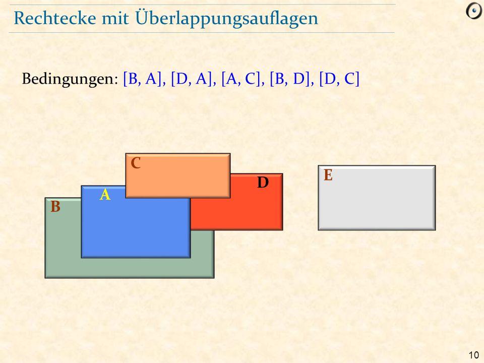 10 Rechtecke mit Überlappungsauflagen Bedingungen: [B, A], [D, A], [A, C], [B, D], [D, C] B D A C E