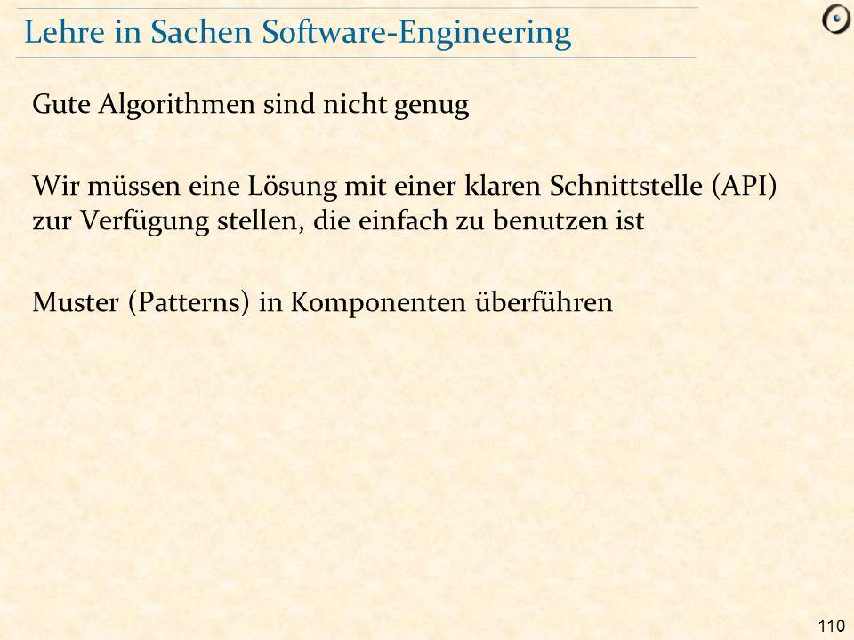 110 Lehre in Sachen Software-Engineering Gute Algorithmen sind nicht genug Wir müssen eine Lösung mit einer klaren Schnittstelle (API) zur Verfügung s
