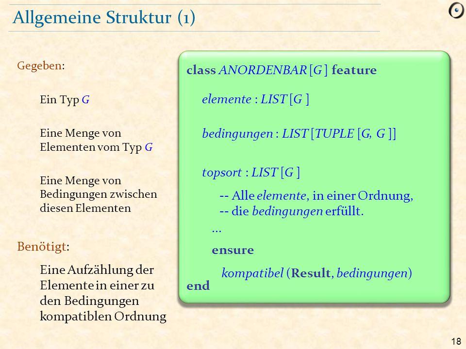 18 end class ANORDENBAR [G ] feature Allgemeine Struktur (1) Gegeben: Ein Typ G Eine Menge von Elementen vom Typ G Eine Menge von Bedingungen zwischen