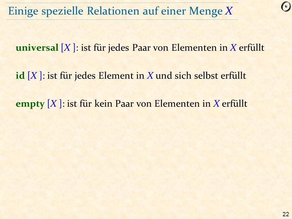 22 Einige spezielle Relationen auf einer Menge X universal [X ]: ist für jedes Paar von Elementen in X erfüllt id [X ]: ist für jedes Element in X und