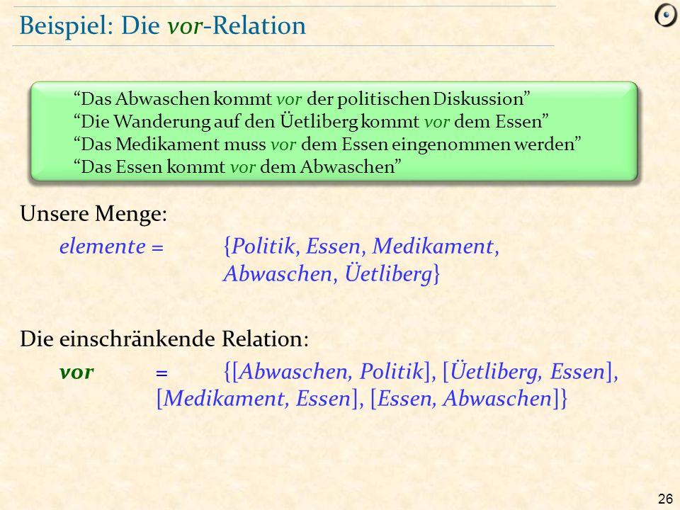 26 Beispiel: Die vor-Relation Unsere Menge: elemente = {Politik, Essen, Medikament, Abwaschen, Üetliberg} Die einschränkende Relation: vor={[Abwaschen
