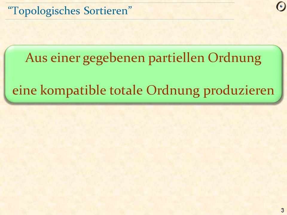 """3 """"Topologisches Sortieren"""" Aus einer gegebenen partiellen Ordnung eine kompatible totale Ordnung produzieren"""