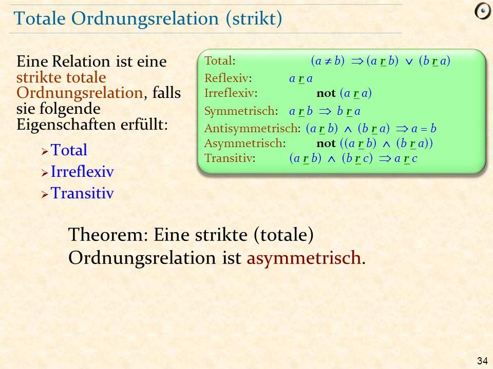 34 Totale Ordnungsrelation (strikt) Eine Relation ist eine strikte totale Ordnungsrelation, falls sie folgende Eigenschaften erfüllt:  Total  Irrefl