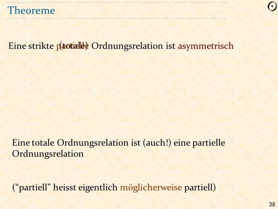38 Theoreme Eine strikte Ordnungsrelation ist asymmetrisch (totale)partielle Eine totale Ordnungsrelation ist (auch!) eine partielle Ordnungsrelation