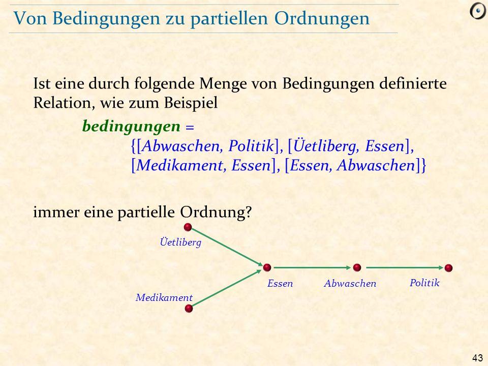 43 Von Bedingungen zu partiellen Ordnungen Ist eine durch folgende Menge von Bedingungen definierte Relation, wie zum Beispiel bedingungen = {[Abwasch