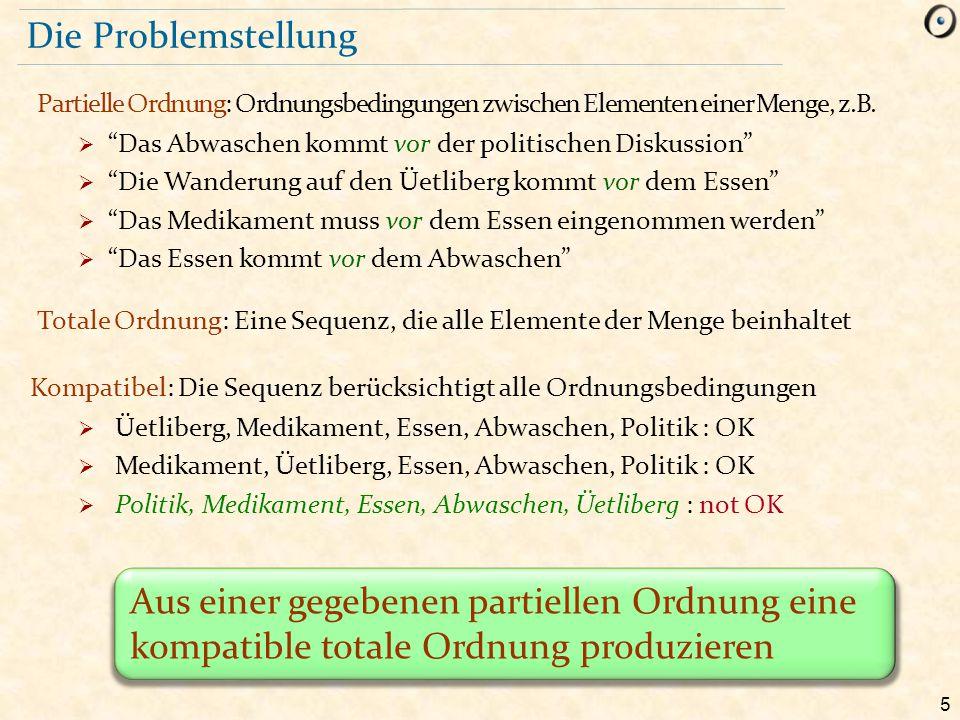 """5 Die Problemstellung Partielle Ordnung: Ordnungsbedingungen zwischen Elementen einer Menge, z.B.  """"Das Abwaschen kommt vor der politischen Diskussio"""