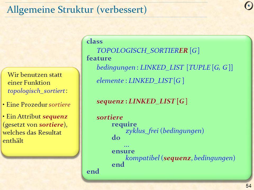 54 Allgemeine Struktur (verbessert) Wir benutzen statt einer Funktion topologisch_sortiert : Eine Prozedur sortiere Ein Attribut sequenz (gesetzt von