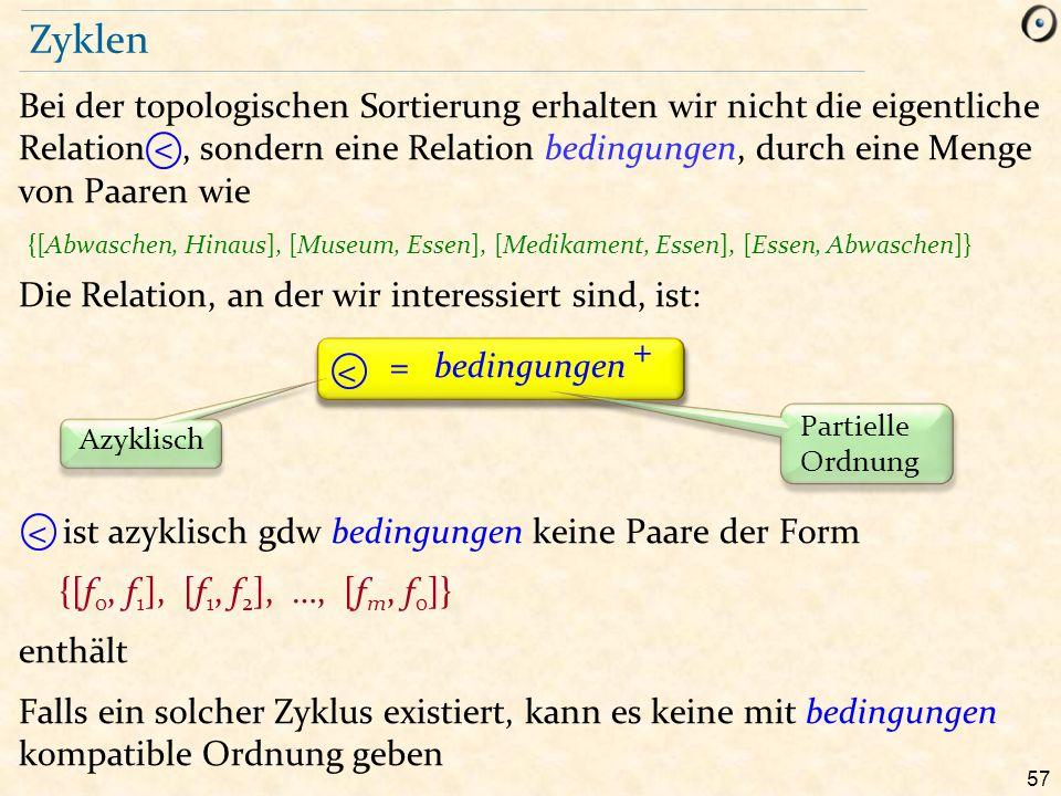 57 Zyklen Bei der topologischen Sortierung erhalten wir nicht die eigentliche Relation, sondern eine Relation bedingungen, durch eine Menge von Paaren