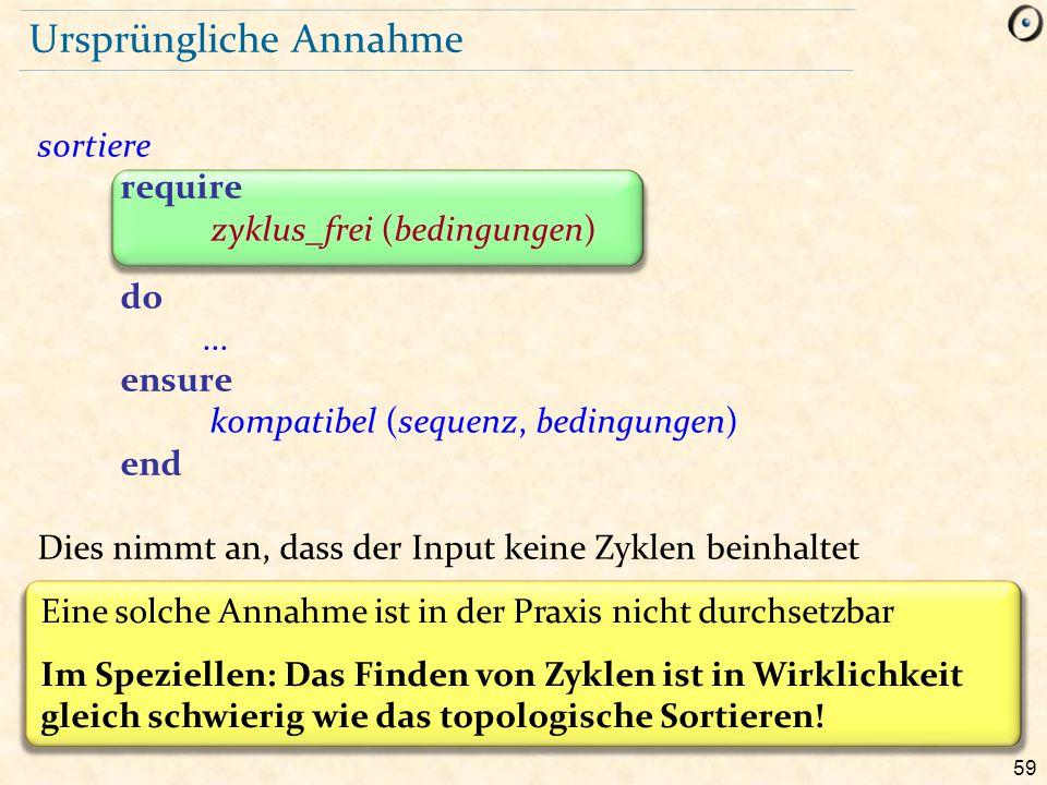 59 Ursprüngliche Annahme sortiere require zyklus_frei (bedingungen) do... ensure kompatibel (sequenz, bedingungen) end Dies nimmt an, dass der Input k