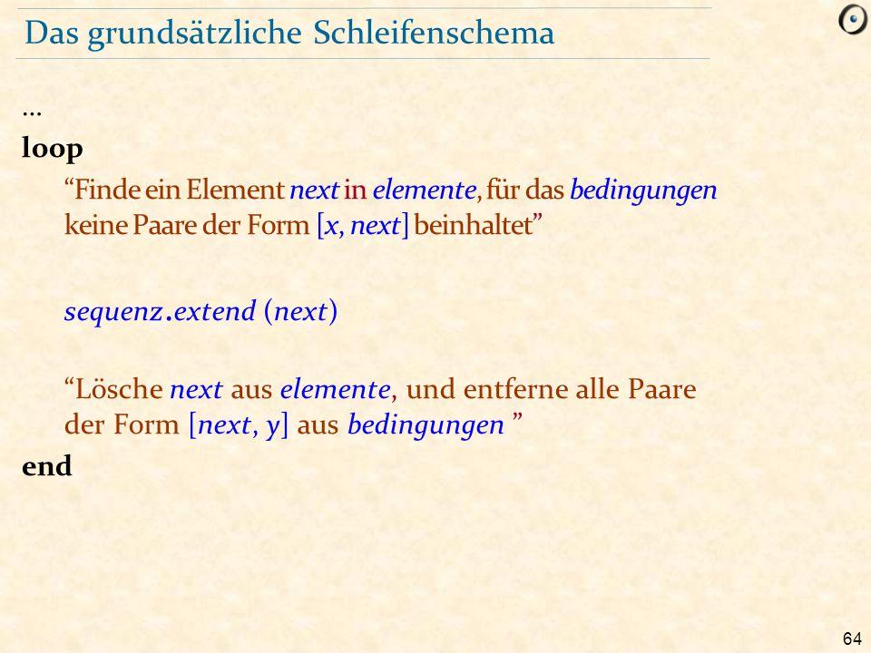 """64 Das grundsätzliche Schleifenschema … loop """"Finde ein Element next in elemente, für das bedingungen keine Paare der Form [x, next] beinhaltet"""" seque"""