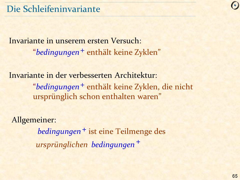 """65 Die Schleifeninvariante Invariante in unserem ersten Versuch: """"bedingungen + enthält keine Zyklen"""" Invariante in der verbesserten Architektur: """"bed"""
