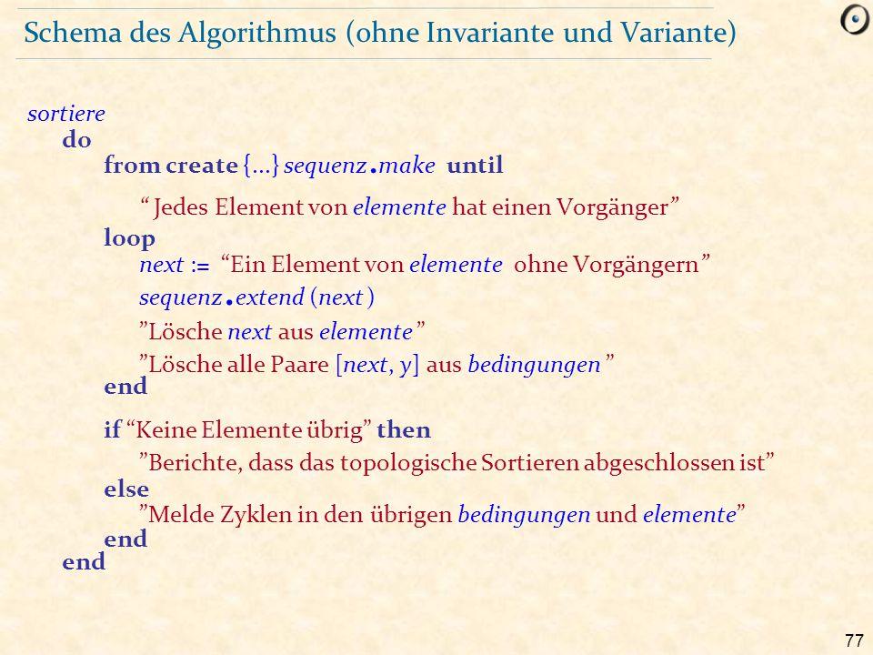 """77 Schema des Algorithmus (ohne Invariante und Variante) sortiere do from create {...} sequenz. make until """" Jedes Element von elemente hat einen Vorg"""