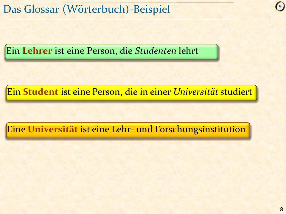 8 Das Glossar (Wörterbuch)-Beispiel Ein Lehrer ist eine Person, die Studenten lehrt Ein Student ist eine Person, die in einer Universität studiert Ein