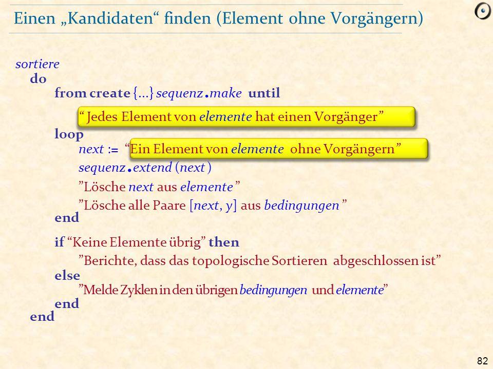 """82 Einen """"Kandidaten"""" finden (Element ohne Vorgängern) sortiere do from create {...} sequenz. make until """" Jedes Element von elemente hat einen Vorgän"""