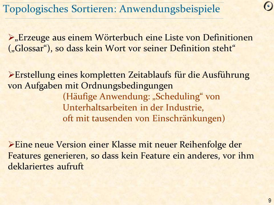 """9 Topologisches Sortieren: Anwendungsbeispiele  """"Erzeuge aus einem Wörterbuch eine Liste von Definitionen (""""Glossar""""), so dass kein Wort vor seiner D"""