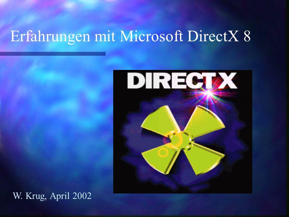 Erfahrungen mit Microsoft DirectX 8 W. Krug, April 2002