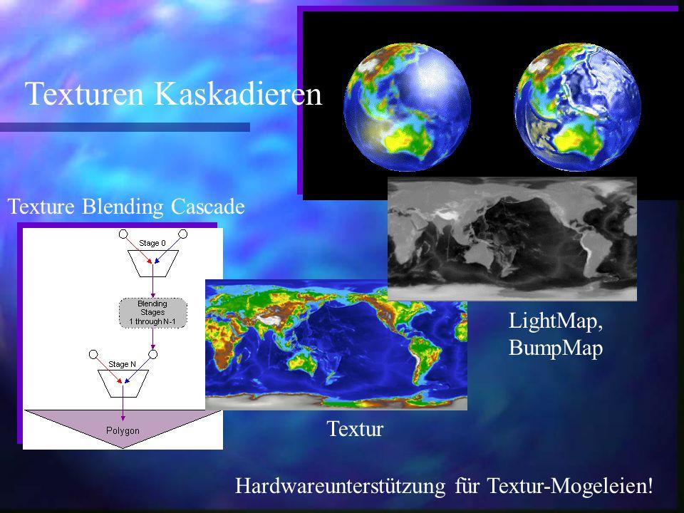 LightMap, BumpMap Texturen Kaskadieren Texture Blending Cascade Textur Hardwareunterstützung für Textur-Mogeleien!