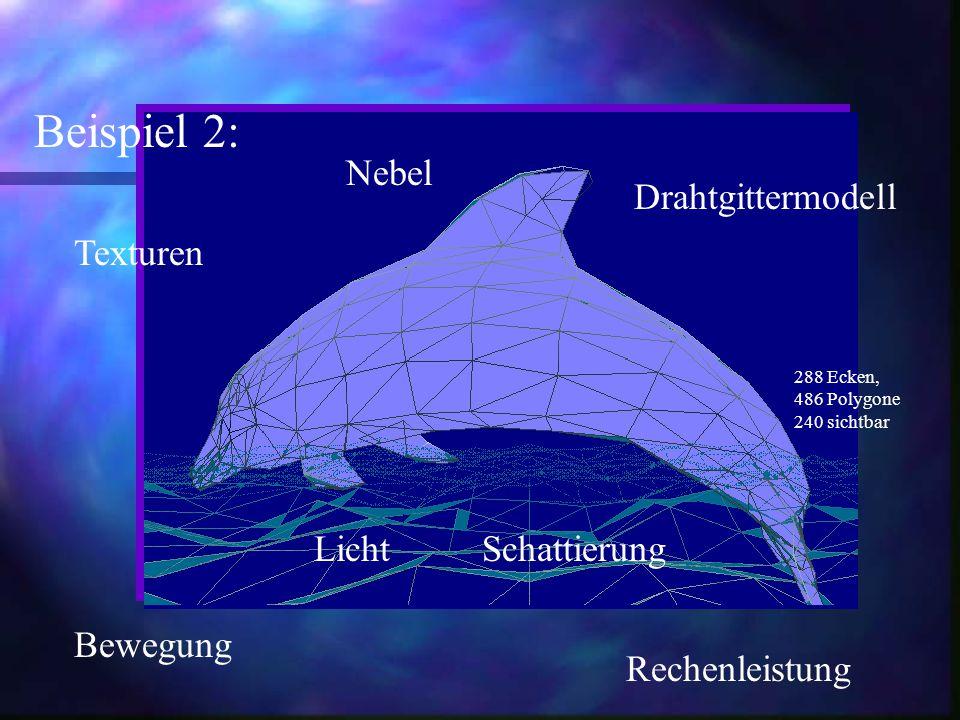 Beispiel 2: Drahtgittermodell Texturen Bewegung Nebel Licht Rechenleistung Schattierung 288 Ecken, 486 Polygone 240 sichtbar