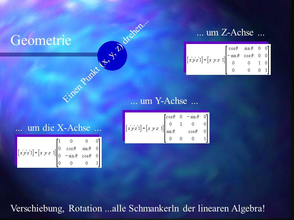 ... um die X-Achse...... um Y-Achse...... um Z-Achse... Geometrie Verschiebung, Rotation...alle Schmankerln der linearen Algebra! Einen Punkt (x, y, z
