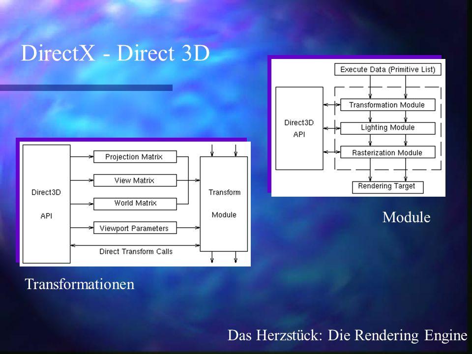 Module DirectX - Direct 3D Transformationen Das Herzstück: Die Rendering Engine
