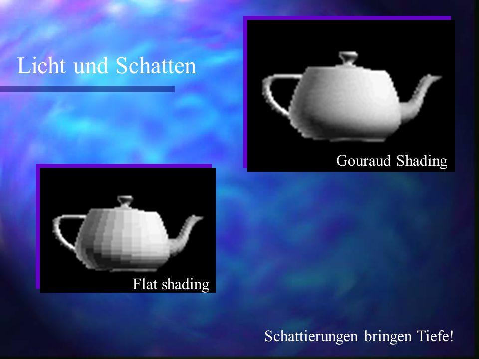 Flat shading Gouraud Shading Licht und Schatten Schattierungen bringen Tiefe!