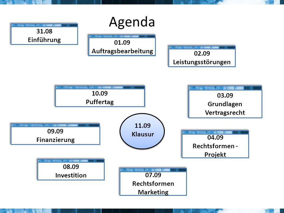 Agenda 11.09 Klausur