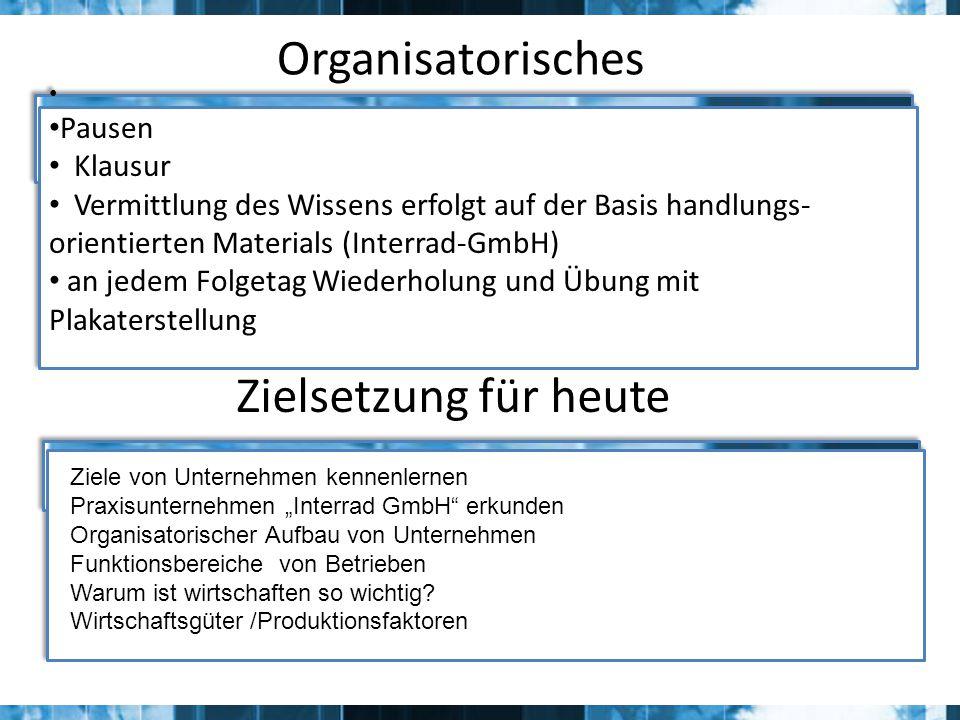 Elemente der Aufbauorganisation Zusammenfassung aller Teilaufgaben zu Aufgabenbereichen
