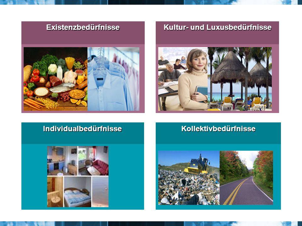 Existenzbedürfnisse Kultur- und Luxusbedürfnisse IndividualbedürfnisseKollektivbedürfnisse