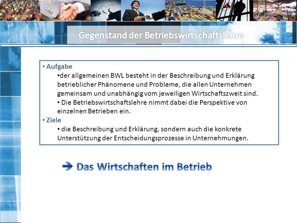 Aufgabe der allgemeinen BWL besteht in der Beschreibung und Erklärung betrieblicher Phänomene und Probleme, die allen Unternehmen gemeinsam und unabhängig vom jeweiligen Wirtschaftszweit sind.