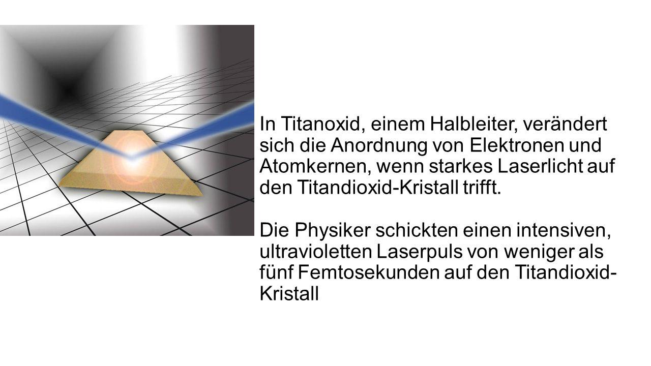 In Titanoxid, einem Halbleiter, verändert sich die Anordnung von Elektronen und Atomkernen, wenn starkes Laserlicht auf den Titandioxid-Kristall trifft.