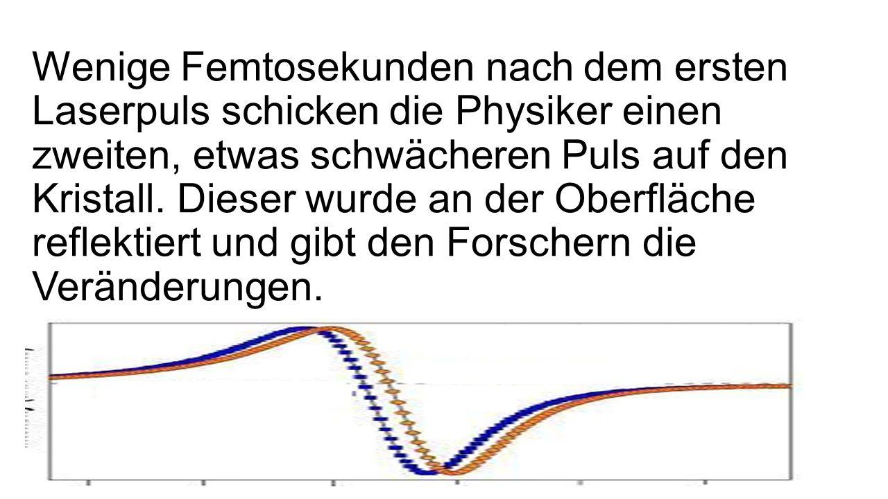 Wenige Femtosekunden nach dem ersten Laserpuls schicken die Physiker einen zweiten, etwas schwächeren Puls auf den Kristall.