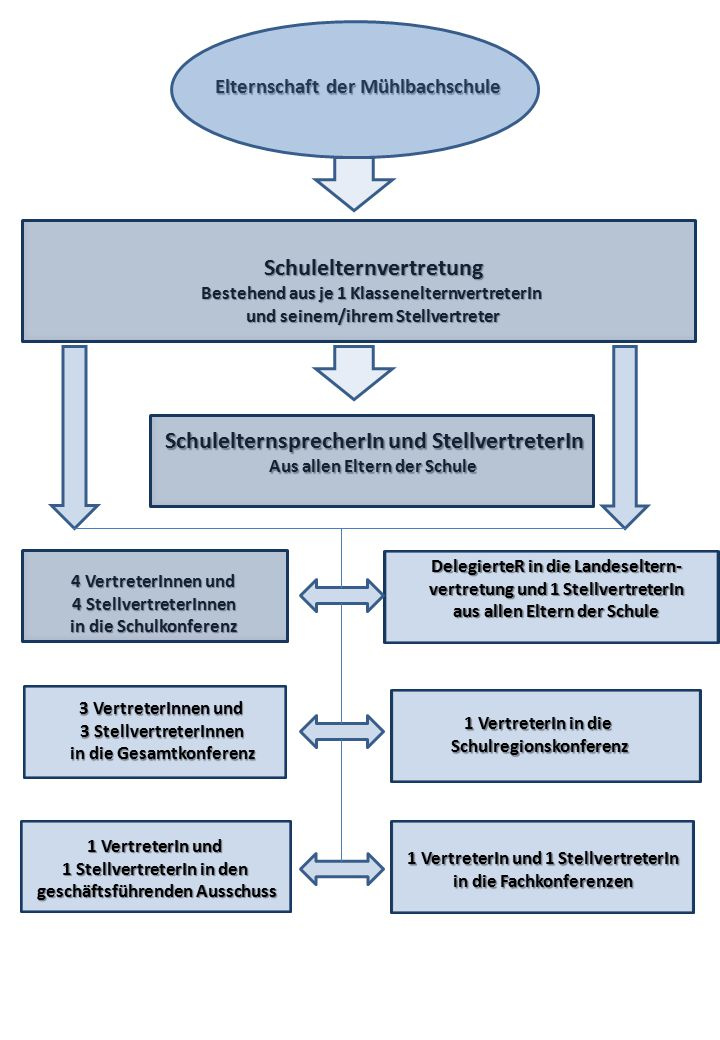 Elternschaft der Mühlbachschule Schulelternvertretung Bestehend aus je 1 KlassenelternvertreterIn und seinem/ihrem Stellvertreter SchulelternsprecherI
