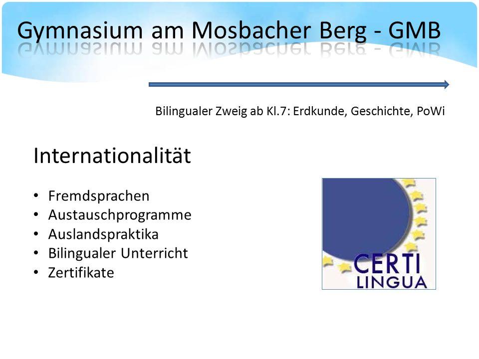 Bilingualer Zweig ab Kl.7: Erdkunde, Geschichte, PoWi Fremdsprachen Austauschprogramme Auslandspraktika Bilingualer Unterricht Zertifikate Internationalität