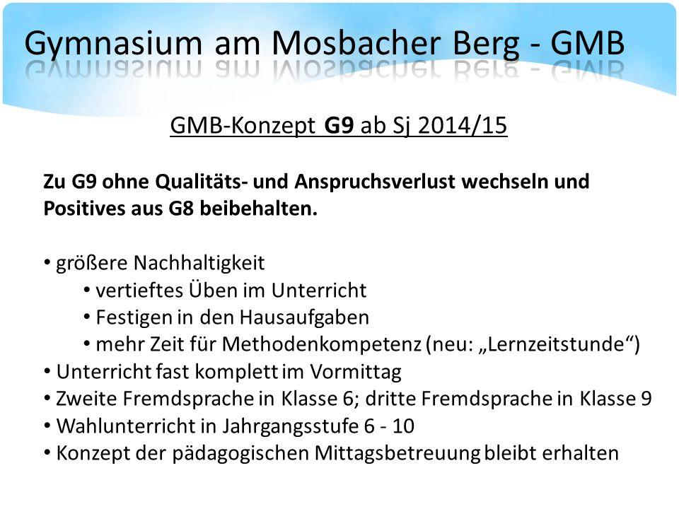 GMB-Konzept G9 ab Sj 2014/15 Zu G9 ohne Qualitäts- und Anspruchsverlust wechseln und Positives aus G8 beibehalten.
