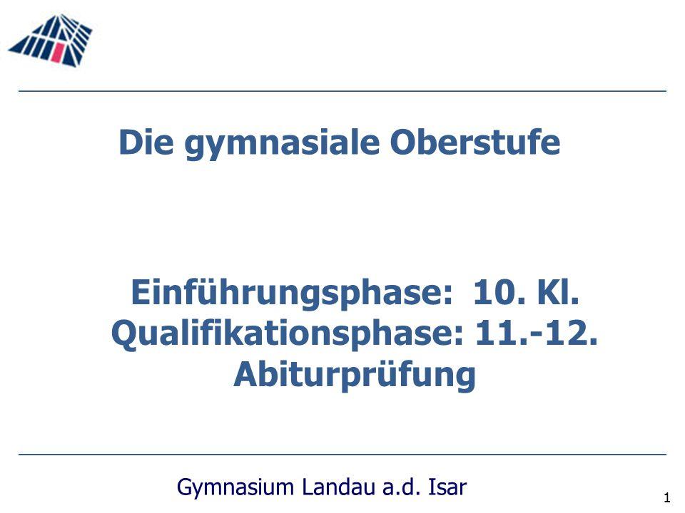 Gymnasium Landau a.d. Isar 1 Die gymnasiale Oberstufe Einführungsphase: 10. Kl. Qualifikationsphase: 11.-12. Abiturprüfung
