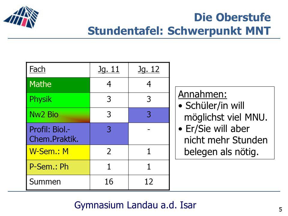Gymnasium Landau a.d. Isar 5 Die Oberstufe Stundentafel: Schwerpunkt MNT FachJg. 11Jg. 12 Mathe44 Physik33 Nw2 Bio33 Profil: Biol.- Chem.Praktik. 3- W