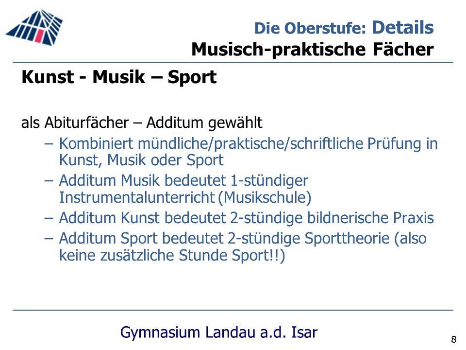 Gymnasium Landau a.d. Isar 8 Kunst - Musik – Sport als Abiturfächer – Additum gewählt –Kombiniert mündliche/praktische/schriftliche Prüfung in Kunst,