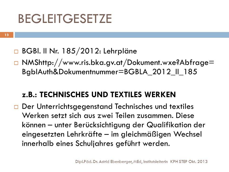 BEGLEITGESETZE Dipl.Päd. Dr. Astrid Ebenberger, MEd, Institutsleiterin KPH STEP Okt. 2013 13  BGBl. II Nr. 185/2012: Lehrpläne  NMShttp://www.ris.bk