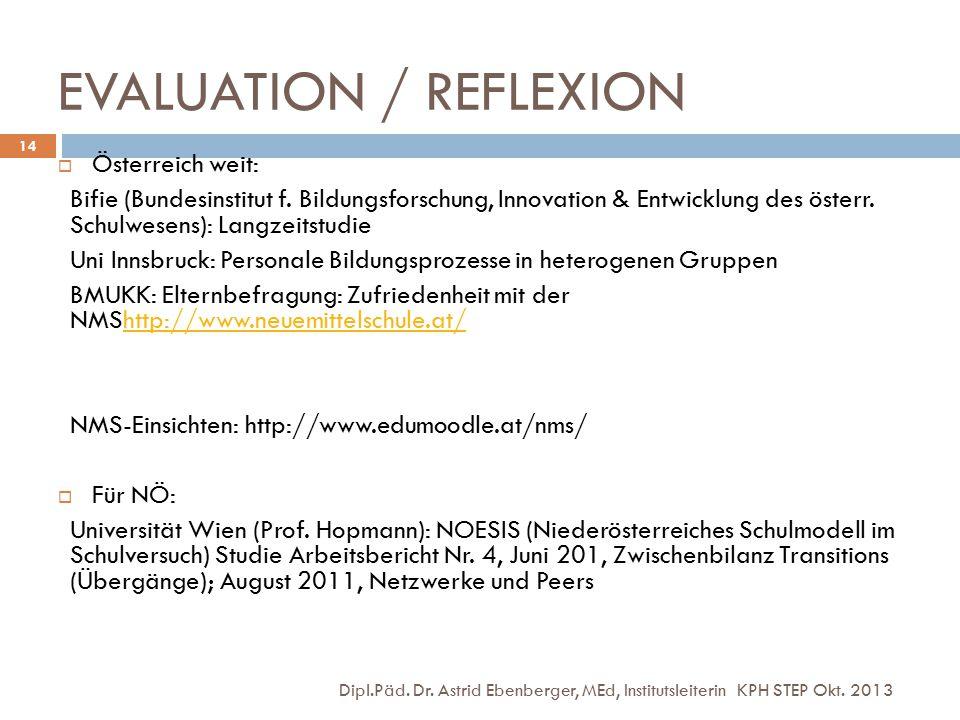 EVALUATION / REFLEXION Dipl.Päd. Dr. Astrid Ebenberger, MEd, Institutsleiterin KPH STEP Okt. 2013 14  Österreich weit: Bifie (Bundesinstitut f. Bildu